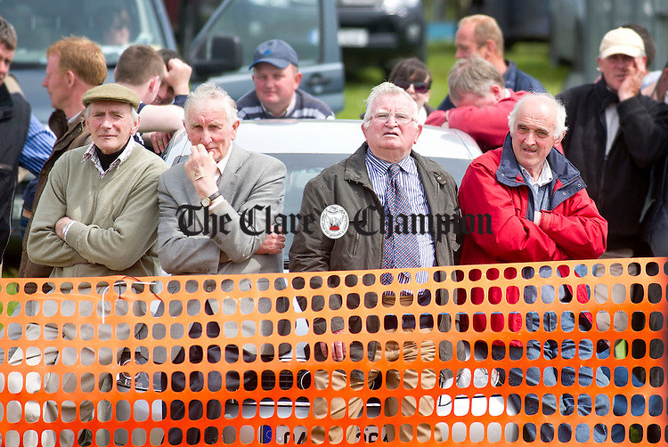 Willie Mc Donnell from Nenagh with Cyril Conway and Vincent Callaghan from Lissycasey and Seamus Moloney from Kildysart during the Newmarket Show at the weekend. Photograph by Declan Monaghan