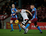 Billy Sharp of Sheffield Utd tackled by Jack King of Scunthorpe Utd  - English League One - Scunthorpe Utd vs Sheffield Utd - Glandford Park Stadium - Scunthorpe - England - 19th December 2015 - Pic Simon Bellis/Sportimage