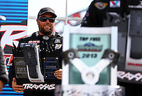 Aug. 31, 2013; Clermont, IN, USA: NHRA top fuel dragster driver Shawn Langdon at the Traxxas Shootout during qualifying for the US Nationals at Lucas Oil Raceway. Mandatory Credit: Mark J. Rebilas-
