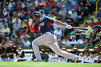 Boston Red Sox shortstop Xander Bogaerts (2) during a Spring Training game against the Pittsburgh Pirates on March 12, 2015 at McKechnie Field in Bradenton, Florida.  Boston defeated Pittsburgh 5-1.  (Mike Janes/Four Seam Images)