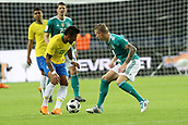 27th March 2018, Olympiastadion, Berlin, Germany; International Football Friendly, Germany versus Brazil; Tony Kroos (Germany) challenges Paulinho