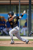 Pittsburgh Pirates third baseman Jung Ho Kang (15) at bat during a Florida Instructional League game against the Toronto Blue Jays on September 20, 2018 at the Englebert Complex in Dunedin, Florida.  Kang is on rehab assignment after having surgery on his left wrist to remove cartilage.  (Mike Janes/Four Seam Images)