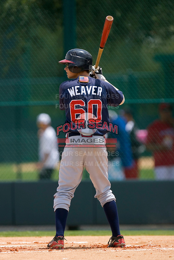Matthew Weaver #60 of the GCL Braves at bat versus the GCL Phillies at Disney's Wide World of Sports Complex, July 13, 2009, in Orlando, Florida.  (Photo by Brian Westerholt / Four Seam Images)