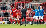 08.05.2018 Aberdeen v Rangers: Alfredo Morelos gives away a penalty
