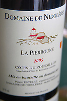 Cuvee La Pierroune. Domaine de Nidoleres. Roussillon. France. Europe. Bottle.