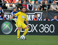 Gino Padula of the Crew in action during the game against the Earthquakes at Buck Shaw Stadium in Santa Clara, California on June 2nd, 2010.  San Jose Earthquakes tied Columbus Crew, 2-2.