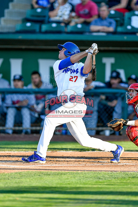 DJ Peters (27) of the Ogden Raptors at bat against the Billings Mustangs in Pioneer League action at Lindquist Field on August 12, 2016 in Ogden, Utah. Billings defeated Ogden 7-6. (Stephen Smith/Four Seam Images)