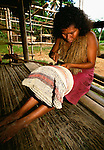 Yagua Indian woman making basket, Brazil