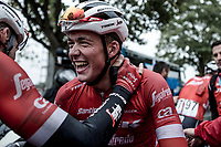Mads Pedersen (DEN/Trek Segafredo) happy after winning the sprint in a select group. <br /> <br /> 78th Euro Metropole Tour 2018<br /> La Louvi&egrave;re &ndash; Tournai (BEL): 206km