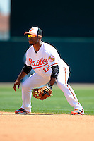 Baltimore Orioles second baseman Alexi Casilla #12 during a Spring Training game against the New York Mets at Ed Smith Stadium on March 30, 2013 in Sarasota, Florida.  (Mike Janes/Four Seam Images)