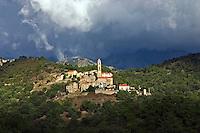 Corsica,  Village of Soveria, near Corte.  Typical central hill village.  France..