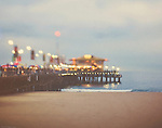Santa Monica pier at night, with bokeh lights