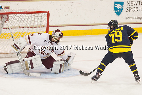 Joe Woll (BC - 31), Michael Babcock (Merrimack - 19) - The visiting Merrimack College Warriors defeated the Boston College Eagles 6 - 3 (EN) on Friday, February 10, 2017, at Kelley Rink in Conte Forum in Chestnut Hill, Massachusetts.