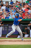 South Bend Cubs center fielder Zach Davis (22) at bat during a game against the Kane County Cougars on July 21, 2018 at Northwestern Medicine Field in Geneva, Illinois.  South Bend defeated Kane County 4-2.  (Mike Janes/Four Seam Images)