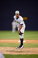 Lynchburg Hillcats relief pitcher Luis Jimenez (41) looks in for the sign during the second game of a doubleheader against the Frederick Keys on June 12, 2018 at Nymeo Field at Harry Grove Stadium in Frederick, Maryland.  Frederick defeated Lynchburg 8-1.  (Mike Janes/Four Seam Images)