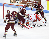 Jimmy Hayes (BC - 10), John Muse (BC - 1), Patrick Wey (BC - 6), Sahir Gill (BU - 28), Joe Pereira (BU - 6), Philip Samuelsson (BC - 5) - The visiting Boston College Eagles defeated the Boston University Terriers 3-2 to sweep their Hockey East series on Friday, January 21, 2011, at Agganis Arena in Boston, Massachusetts.