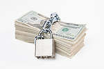 USA, Illinois, Metamora, Chained up stack of US money