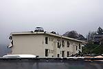"""Minamisanriku, Miyagi, Japan - A vehicle sites on a three-story building at Minamisanriku, one year after the tsunami. The Latin group of volunteers """"Todos con Japon"""" visits Miyagi area during this Golden Week."""