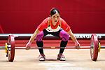 Mizuki Yanagida (JPN), <br /> AUGUST 20, 2018 - Weightlifting : Women's 48kg at JIExpo Kemayoran Hall A during the 2018 Jakarta Palembang Asian Games in Jakarta, Indonesia. <br /> (Photo by MATSUO.K/AFLO SPORT)