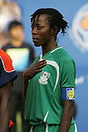 12 August 2008: Christie George (NGA).  The women's Olympic team of Brazil defeated the women's Olympic soccer team of Nigeria 3-1 at Beijing Workers' Stadium in Beijing, China in a Group F round-robin match in the Women's Olympic Football competition.
