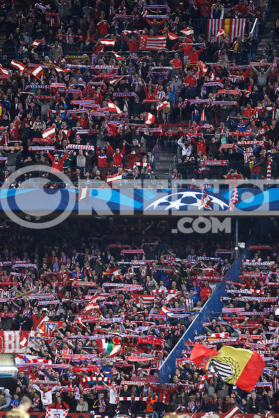 Atletico de Madrid´s supporters during 16th Champions League soccer match at Vicente Calderon stadium in Madrid, Spain. March 11, 2014. (ALTERPHOTOS/Victor Blanco)
