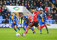 Lincoln City's Tyler Walker scores the opening goal for Lincoln City from the penalty spot<br /> <br /> Photographer Andrew Vaughan/CameraSport<br /> <br /> The EFL Sky Bet League One - Shrewsbury Town v Lincoln City - Saturday 11th January 2020 - New Meadow - Shrewsbury<br /> <br /> World Copyright © 2020 CameraSport. All rights reserved. 43 Linden Ave. Countesthorpe. Leicester. England. LE8 5PG - Tel: +44 (0) 116 277 4147 - admin@camerasport.com - www.camerasport.com