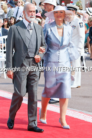 """MONACO ROYAL WEDDING .Prince Michael of Kent and Princess Michael of Kent..Guests Arrive at the Religious wedding of H.S.H Prince Albert II and Miss Charlene Wittstock in the Prince's Palace._Prince's Palace Monaco 01/07/2011..Mandatory Photo Credit: ©Newspix International..**ALL FEES PAYABLE TO: """"NEWSPIX INTERNATIONAL""""**..PHOTO CREDIT MANDATORY!!: NEWSPIX INTERNATIONAL(Failure to credit will incur a surcharge of 100% of reproduction fees)..IMMEDIATE CONFIRMATION OF USAGE REQUIRED:.Newspix International, 31 Chinnery Hill, Bishop's Stortford, ENGLAND CM23 3PS.Tel:+441279 324672  ; Fax: +441279656877.Mobile:  0777568 1153.e-mail: info@newspixinternational.co.uk"""