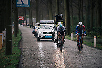 race leaders Antoine Duchesne (CAN/Groupama-FDJ) &amp; Owain Doull (GBR/SKY) on the wet cobbles in the local lap<br /> <br /> 106th Scheldeprijs 2018 (1.HC)<br /> 1 Day Race: Terneuzen (NED) - Schoten (BEL)(200km)