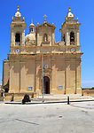 Seventeenth century Baroque architecture St Philip of Agira parish church at Zebbug, island of Gozo, Malta