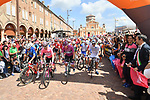 The start of Stage 11 of the 2019 Giro d'Italia, running 221km from Carpi to Novi Ligure, Italy. 22nd May 2019<br /> Picture: Massimo Paolone/LaPresse | Cyclefile<br /> <br /> All photos usage must carry mandatory copyright credit (© Cyclefile | Massimo Paolone/LaPresse)