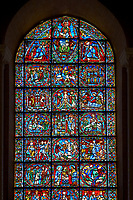 Medieval stained glass Window of the Gothic Cathedral of Chartres, France - dedicated to The Infancy and Public Ministry of Christ. A UNESCO World Heritage Site.