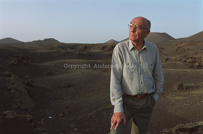 Jose Saramago, in the Vulcano desert in Lanzarote.