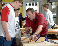 14-16yr olds on School Link Programme at Further Education College doing Carpentry.  This programme allows young teens to spend one day a week at FE College rather thyan at their own school.