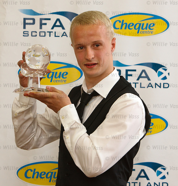 Leigh Griffiths of Livingston gets his award for First Division player of the year