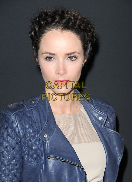 Abigail Spencer<br /> The Myspace Event held at The El Rey Theatre in Los Angeles, California, USA.<br /> June 12th, 2013   <br /> headshot portrait hair up braid plait blue leather jacket beige  <br /> CAP/DVS<br /> &copy;DVS/Capital Pictures