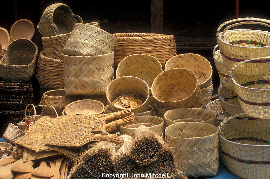 Baskets and other straw goods for sale in the village of Tzintzuntzan near Lake Patzcuaro, Michoacan, Mexico