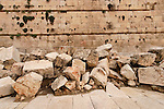 Israel, Jerusalem Archaeological Park, stones from Temple Mount on the Herodian Street next to the southern section of the Western Wall<br />