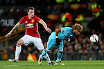 Phil Jones of Manchester United challenges Tonny Vilhena of Feyenoord during the UEFA Europa League match at Old Trafford, Manchester. Picture date: November 24th 2016. Pic Matt McNulty/Sportimage