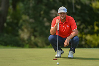 Jon Rahm (ESP) looks over his putt on 9 during 4th round of the 100th PGA Championship at Bellerive Country Club, St. Louis, Missouri. 8/12/2018.<br /> Picture: Golffile | Ken Murray<br /> <br /> All photo usage must carry mandatory copyright credit (&copy; Golffile | Ken Murray)