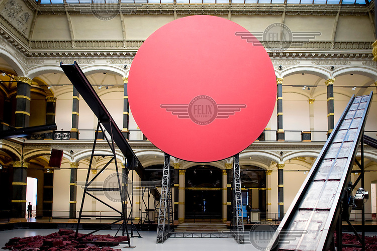 'Symphony for a Beloved Sun' by Anish Kapoor part of the 'Kapoor in Berlin' exhibition at the Martin Gropius Bau. The 1991 Turner Prize winner, who is considered one of the most influential sculptors of his generation, created almost 50% of the works specifically for the exhibition in Berlin, his first in the country. /Felix Features