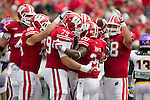 Wisconsin Badgers celebrate James White (20) touchdown during an NCAA football game against the Tennessee Tech Golden Eagles  Saturday, September 7, 2013, in Madison, Wis. The Badgers won 48-0.  (Photo by David Stluka)