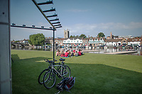 Henley. Berks, United Kingdom. <br /> <br /> Coach, talking to his Squad, in front of the Royal Regatta's Boat Tent. 2017 Henley' Women's Regatta. Rowing on, Henley Reach. River Thames. <br /> <br /> <br /> Sunday  18/06/2017<br /> <br /> <br /> [Mandatory Credit Peter SPURRIER/Intersport Images]