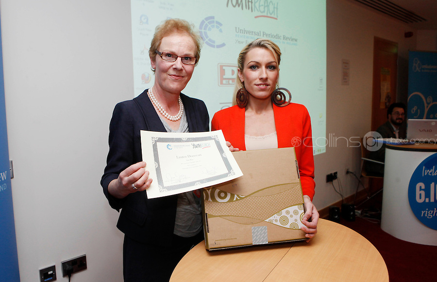 """***NO FEE PIC***.27/09/2011.(L to r) Noeline Blackwell Director of Flac ( Free Legal Advice Centre) & Lauren Donovan from Sherrard St Youth Reach Centre Dublin  who won 1st prize for her Video Montage on Domestic Violence.during a """" Your Rights Right  now""""/ Youthreach competition prizegiving award ceremony at the Office of the Ombudsman for Children, Dublin. The competition called on young Youthreach students to express themselves about the important human rights issues affecting their lives..Photo: Gareth Chaney Collins"""
