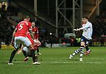 Preston's Joe Garner fires in a shot<br /> <br /> FA Cup - Preston North End vs Manchester United  - Deepdale - England - 16th February 2015 - Picture David Klein/Sportimage