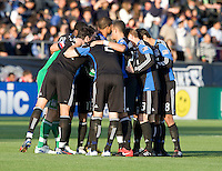 Earthquakes' players huddle together just seconds before the game starts against the Red Bulls at Buck Shaw Stadium in Santa Clara, California.  San Jose Earthquakes defeated New York Red Bulls, 4-0.
