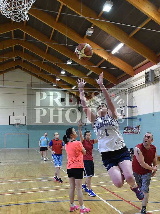 Karen Lynch in action during the Golden Oldies basketball tournment in aid of Alzheimers Society held in St Mary's DS Gym. Photo:Colin Bell/pressphotos.ie