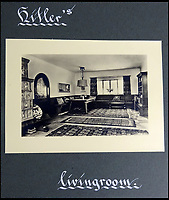 BNPS.co.uk (01202 558833)<br /> Pic: DavidDuggleby/BNPS<br /> <br /> Hitlers living room - Inside Hitlers Berghof in Berchtesgaden.<br /> <br /> This amazing photo album reveals the close knit alpine community where Hitler and his henchmen worked and played.<br /> <br /> The album was brought back to Britain by a British administrator of the railways in post war Germany and reveals the cosy living arrangements of the high ranking Nazi's of Hitlers Third Reich.<br /> <br /> It shows the homes of Hitler, Martin Boorman and Hermann Goering in tiny Berchtesgaden in Bavaria, and also the infamous Eagles Nest on a mountain top nearby where the evil dictator would dream his dreams whilst taking in the stunning vista.<br /> <br /> The unique album is being sold by David Duggleby auctioneers in Scarborough on the 7th October.