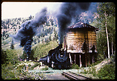 D&amp;RGW #498 followed by second engine at Cresco water tank.<br /> D&amp;RGW  Cresco, CO