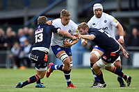 Tom Ellis of Bath Rugby takes on the Edinburgh defence. Pre-season friendly match, between Edinburgh Rugby and Bath Rugby on August 17, 2018 at Meggetland Sports Complex in Edinburgh, Scotland. Photo by: Patrick Khachfe / Onside Images
