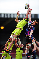 Graham Kitchener of Leicester Tigers competes with Ollie Atkins of Exeter Chiefs for the ball at a lineout. Anglo-Welsh Cup Final, between Exeter Chiefs and Leicester Tigers on March 19, 2017 at the Twickenham Stoop in London, England. Photo by: Patrick Khachfe / JMP